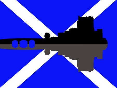 scottish flag: Eilean Donan Castle contro la bandiera scozzese illustrazione