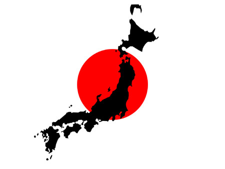 japanese flag: map of Japan and Japanese flag illustration