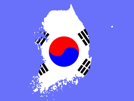 south asian: map of South Korea and Korean flag illustration Illustration