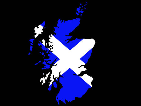 scottish: map of Scotland and scottish flag illustration Illustration