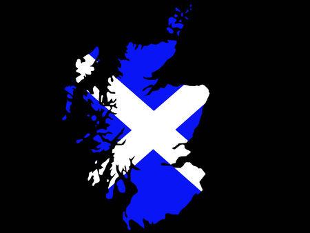scottish flag: mappa della Scozia e illustrazione bandiera scozzese Vettoriali