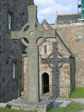 abbey: Celtic Cross and Iona Abbey, Scotland
