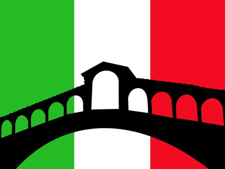 rialto bridge: Rialto bridge Venice against italian flag illustration Stock Photo