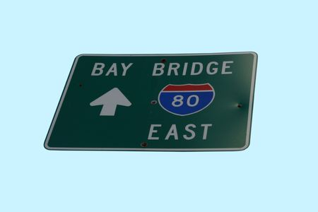 interstate 80: Bay Bridge sign with arrow San Francisco