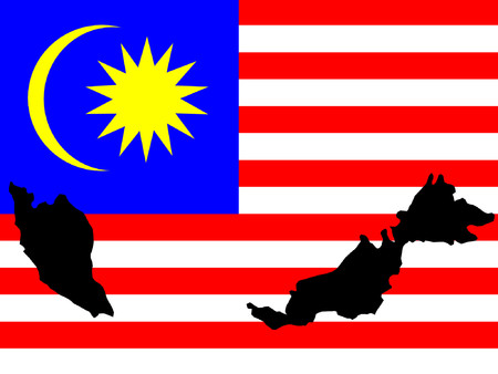 map of Malaysia and Malaysian flag illustration Vector