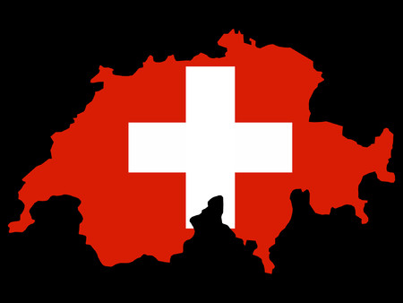 swiss flag: map of Switzerland and Swiss flag illustration