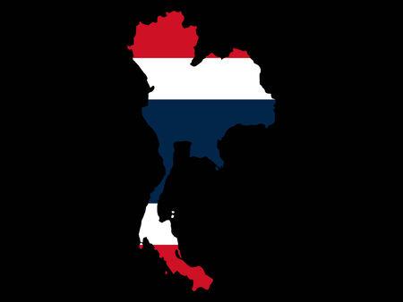 thai flag: map of Thailand and Thai flag illustration