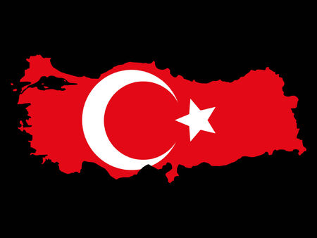turkish flag: map of Turkey and Turkish flag illustration