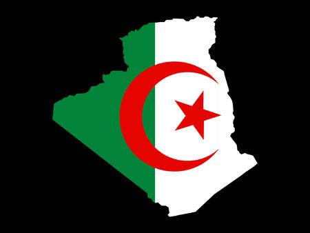 realm: map of Algeria and Algerian flag illustration