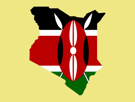 kenya: map of Kenya and Kenyan flag illustration