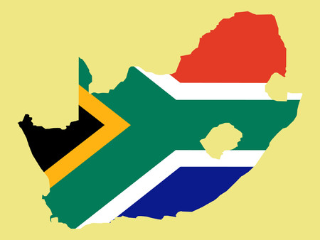 cape town: map of South Africa and South African flag