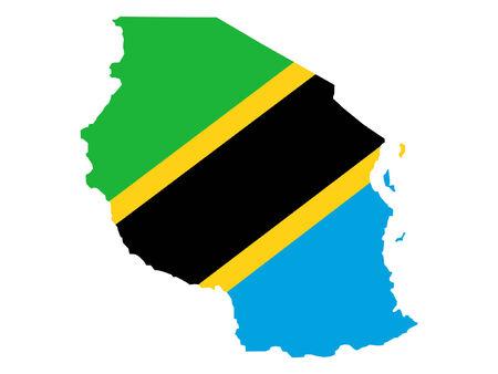 realm: map of Tanzania and Tanzanian flag Illustration