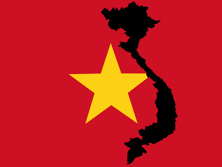 map of Vietnam and Vietnamese flag Vector