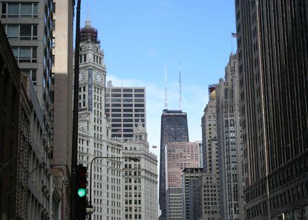 john hancock: Chicago street scene with John Hancock tower and Wrigley building Stock Photo