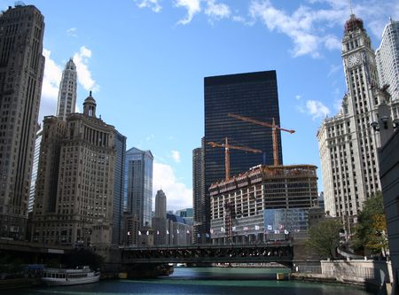 michigan avenue: Michigan Avenue bridge and Wrigley building Chicago Stock Photo