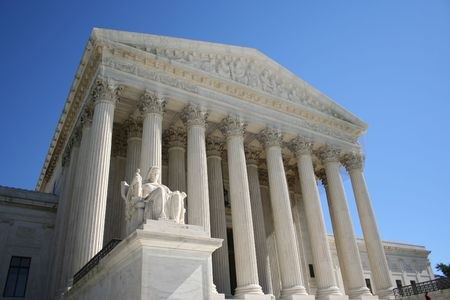 Supreme Court Washington DC with statue Stock Photo
