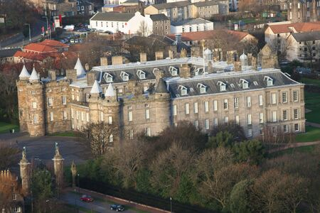 Aerial view of Holyrood Palace Edinburgh Scotland Stock Photo