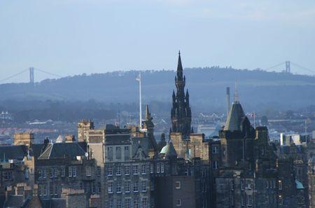 sir walter scott: Scott Monument and towers of Forth Road Bridge Edinburgh Scotland