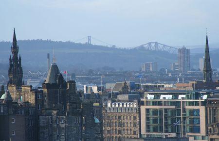 sir walter scott: Scott Monument and Forth Bridges Edinburgh