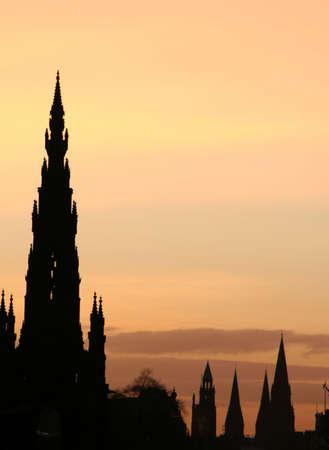 Sir Walter Scott Monument and Princes Street Edinburgh at dusk photo