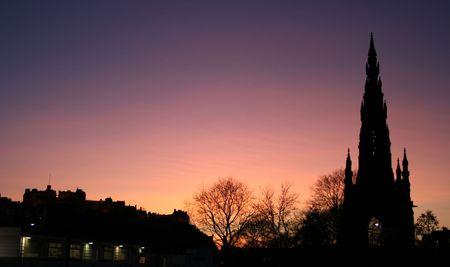 sir walter scott: Edinburgh castle and Scott Monument at dusk Edinburgh Scotland
