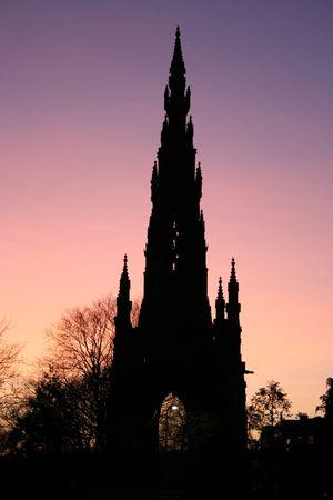 princes street: Scott Monument Princes Street Edinburgh at dusk