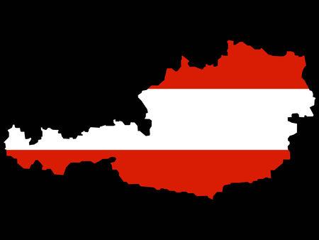 austrian flag: map of Austria and Austrian flag