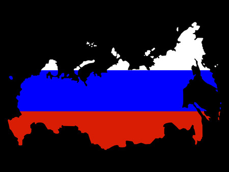 russian flag: map of Russia and Russian flag illustration Illustration