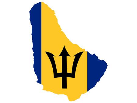 map of Barbados and barbados flag Illustration