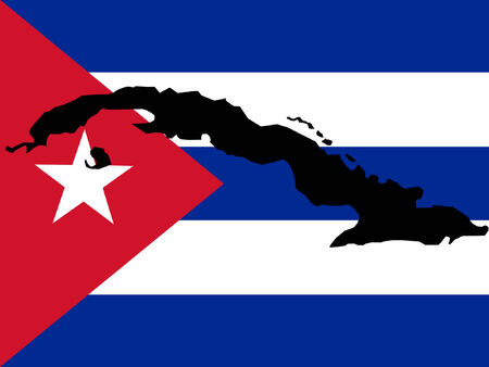 havana cuba: map of Cuba and Cuban flag illustration
