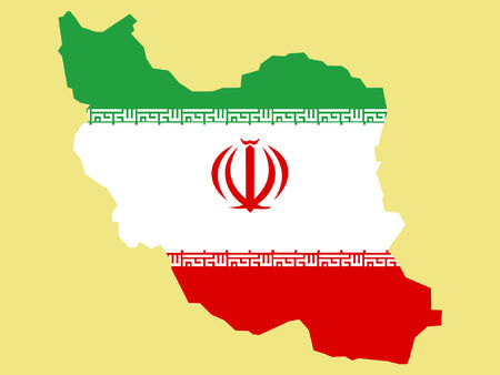 iranian: map of Iran and Iranian flag illustration