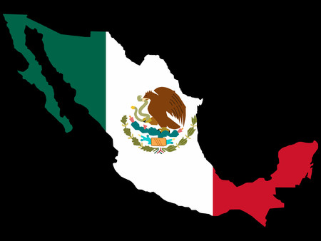 map of Mexico and Mexican flag illustration