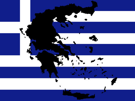 realm: map of Greece and Greek flag illustration Illustration