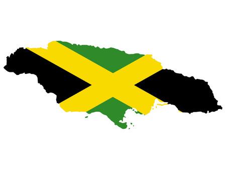 jamaican: mapa de Jamaica y de la bandera jamaicana