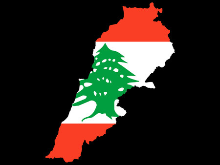map of Lebanon and Lebanese flag Vector