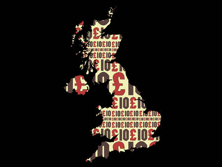 british money: Map of the UK against 10 pound note collage Illustration