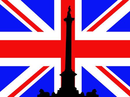 admiral: Nelson Column Trafalgar Square against British flag Illustration