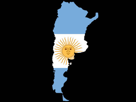 map of Argentina and Argentinian flag illustration Vector