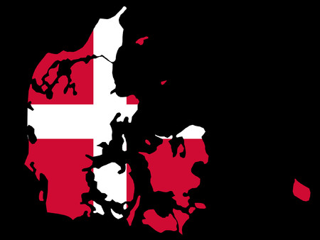 danish flag: map of Denmark and Danish flag illustration Illustration