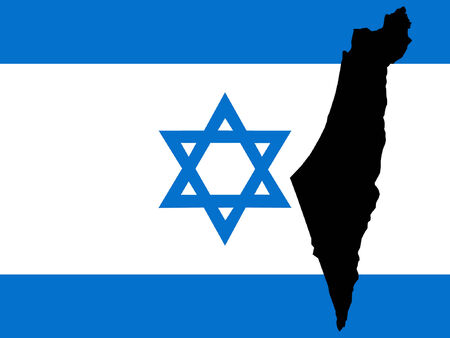 israeli: map of Israel and Israeli flag illustration