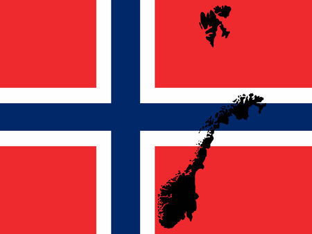 realm: map of Norway and Norwegian flag illustration
