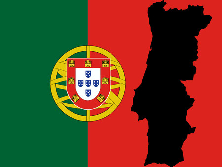 map of Portugal and Portuguese flag illustration Vector