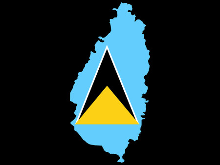st lucia: map of St Lucia and St Lucian flag illustration