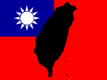 map of Taiwan and Taiwanese flag illustration Vector