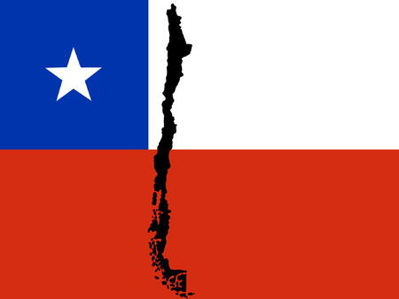 chilean flag: map of Chile and Chilean flag illustration