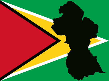 georgetown: map of Guyana and Guyanese flag illustration