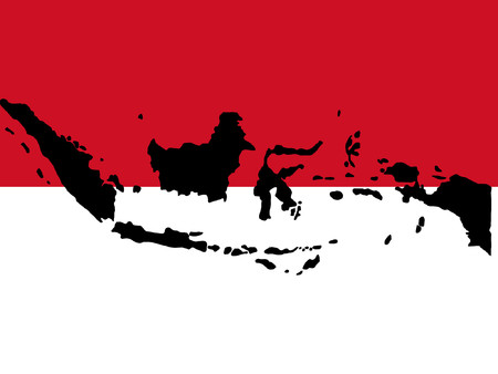 map of Indonesia and Indonesian flag illustration Vector