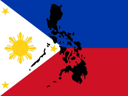 philippines  map: map of Philippines and filipino flag Illustration