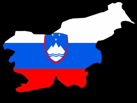 former yugoslavia: map of Slovenia and Slovenian flag