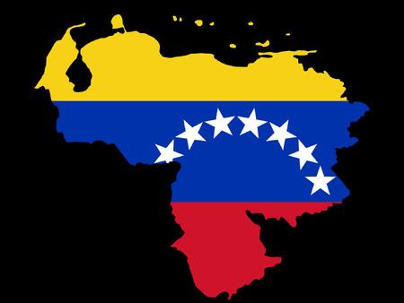 mapa de venezuela: mapa de Venezuela y la bandera venezolana  Vectores